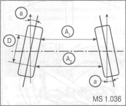 2.2.30 Регулировка угла схождения передних колес