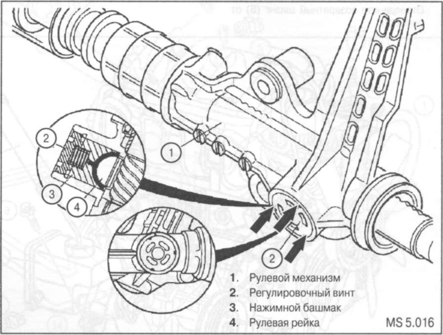 7.7 Регулировка зазора зубчатого зацепления в реечном механизме