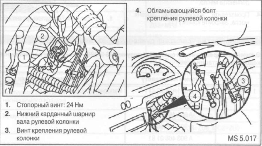 7.8 Снятие и установка рулевой колонки