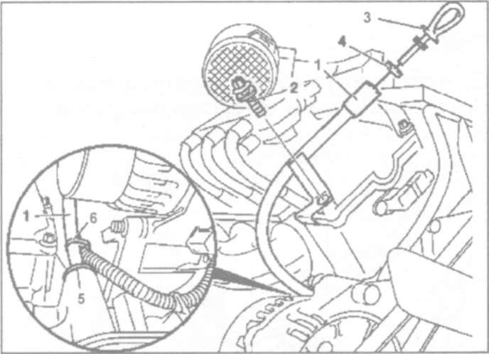 10.4 Снятие и установка направляющей масляного щупа