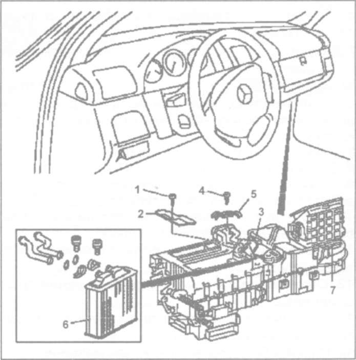 23.8 Снятие и установка радиатора отопителя