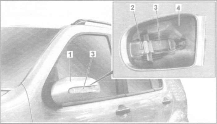 25.7 Снятие и установка указателей поворота в зеркалах заднего вида