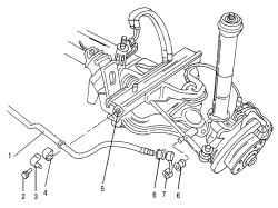 10.2 Снятие и установка переднего стабилизатора поперечной устойчивости