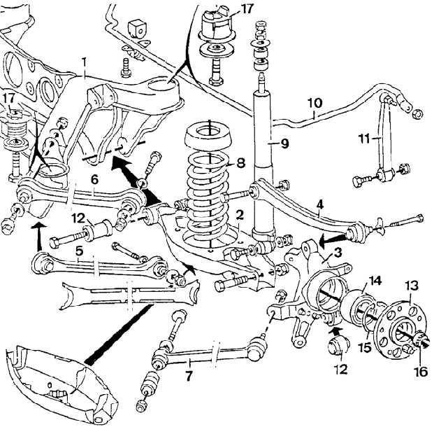 схема задней подвески мерседес w210