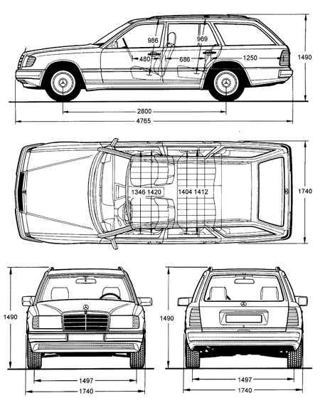 1.46 Основные размеры Mercedes-Benz W124