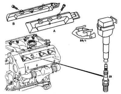 3.26 Проверка и замена свечей зажигания, проверка состояния высоковольтных   проводов (бензиновые модели) Mercedes-Benz W140