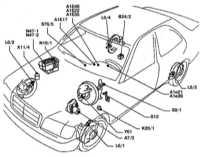 11.2 Расположение компонентов антипробуксовочной системы ASR/ETS