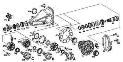 10.4.5 Разборка и сборка редуктора главной передачи и регулировка зазоров   шестерен (модели 140.28/032/О33 до 31.05.94 г. вып., 140.042/043/063/1 и диаметром Mercedes-Benz W140
