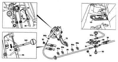 11.10 Снятие и установка переднего троса привода стояночного тормоза