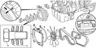 4.16 Снятие и установка демпфера крутильных колебаний/шкива приводного ремня