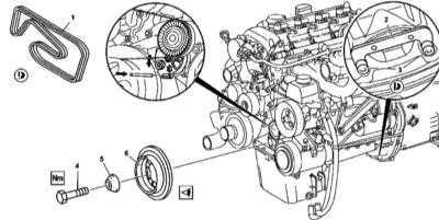 4.33 Снятие и установка демпфера крутильных колебаний/шкива приводного ремня