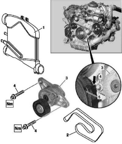 4.3 Замена ремня привода вспомогательных агрегатов и элементов механизма его натяжения Mercedes-Benz W163
