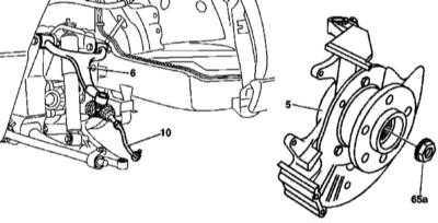 10.12 Снятие и установка поворотного кулака, замена шаровой опоры