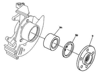 10.13 Снятие и установка фланца переднего приводного вала и двухрядного радиально-упорного шарикового подшипника передней ступицы