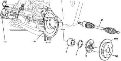 10.15 Снятие и установка фланца заднего приводного вала и двухрядного радиально-упорного шарикового подшипника задней ступицы