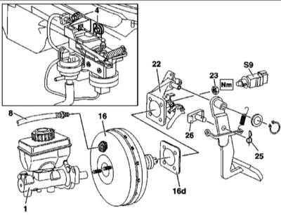 11.6 Снятие и установка вакуумного усилителя тормозов и датчика хода диафрагмы BAS
