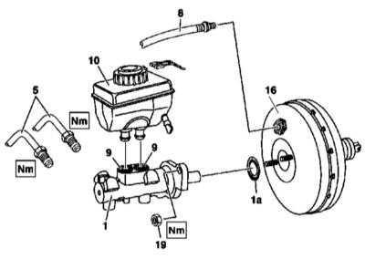 11.5 Снятие и установка главного тормозного цилиндра