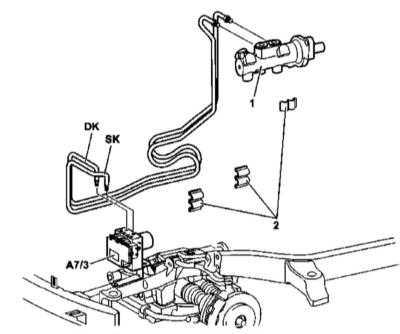 11.8 Снятие и установка гидравлических линий, проложенных между ГТЦ и гидромодулятором ETS/ESP