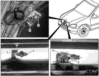 13.8 Снятие, установка и обслуживание компонентов замка капота