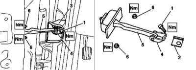 13.18 Снятие и установка ограничителей открывания боковых дверей