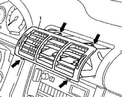 13.27 Снятие и установка дефлекторов воздуховодов панели приборов