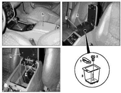 13.32 Снятие и установка крышки консольного вещевого ящика