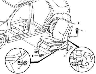 13.40 Снятие и установка сборок передних сидений