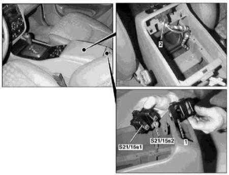 14.16 Снятие и установка индивидуальных переключателей электропривода регуляторов стеклоподъемников задних дверей
