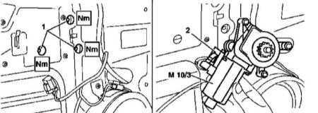 14.24 Снятие и установка электромоторов привода регуляторов дверных стеклоподъемников