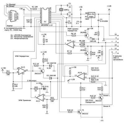 7.17 Контроллер сопряжения персонального компьютера с бортовой системой самодиагностики OBD II по протоколам стандартов SAE (PWM и VPW) и ISO 9141-2