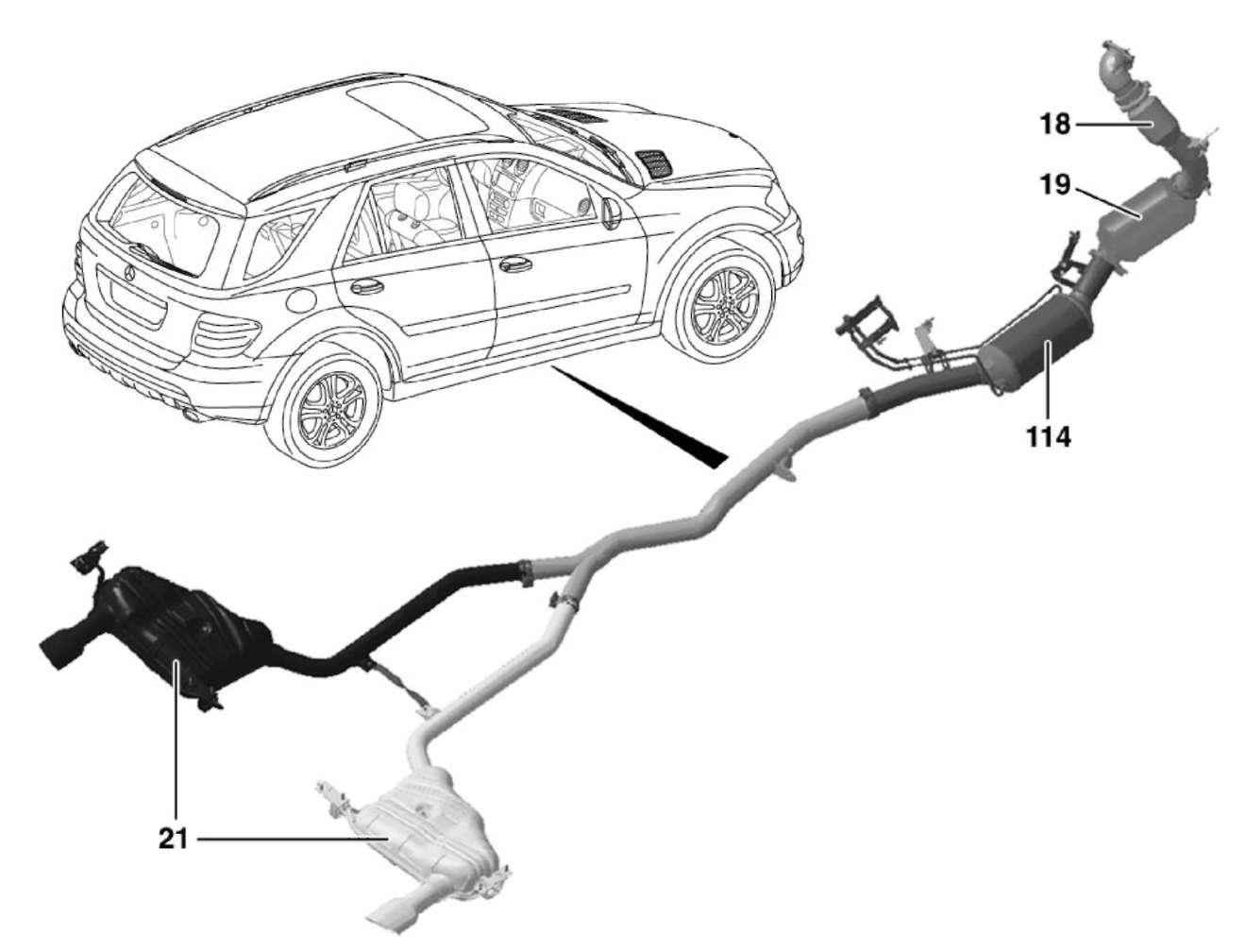 1.5 Система выпуска ОГ Mercedes-Benz W164 (ML Class)