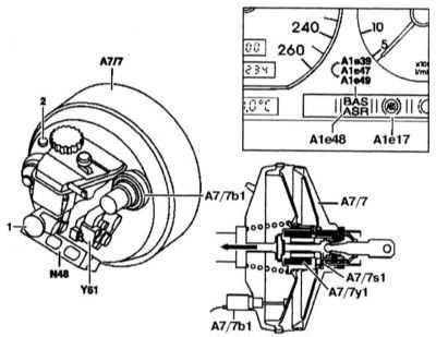 10.2 Расположение компонентов усилителя экстренного торможения BAS