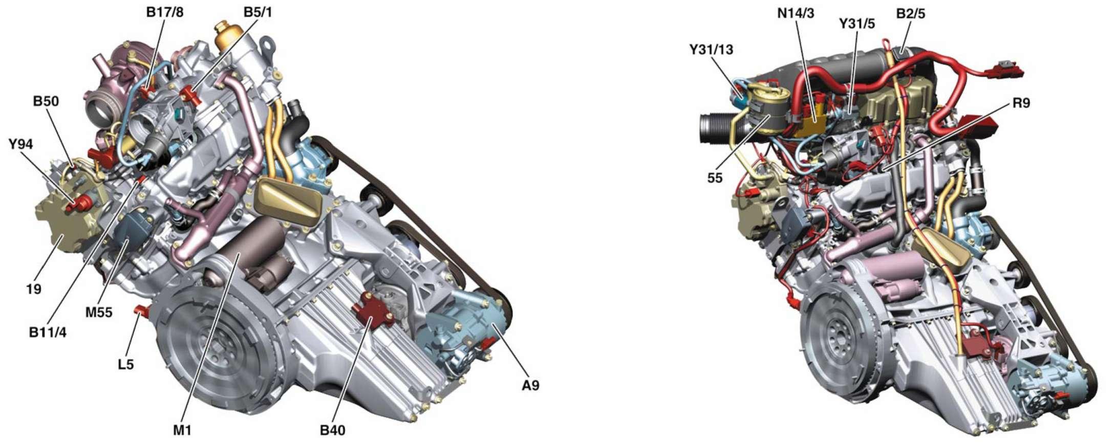 3.1.3 Расположение основных элементов на дизеле Mercedes-Benz W245 (B Class)