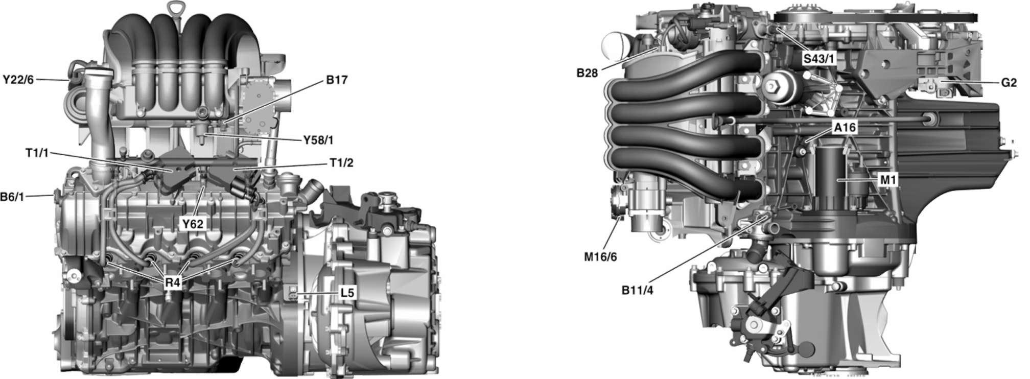 3.2.3 Расположение основных элементов на бензиновом двигателе