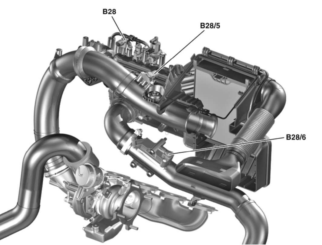 3.2.14 Датчик давления (B28/5) двигателя с турбонаддувом