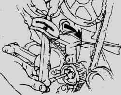 3.8 Газораспределительный ремень и звездочки - снятие, проверка и установка Mitsubishi Colt