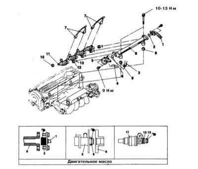 6.4 Снятие и установка топливной магистрали и инжекторов впрыска