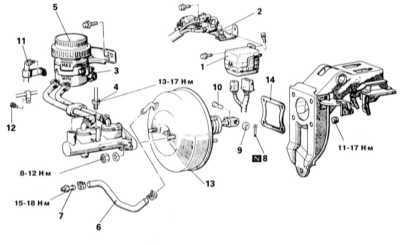 11.5 Проверка исправности функционирования/герметичности, снятие и   установка вакуумного усилителя тормозов