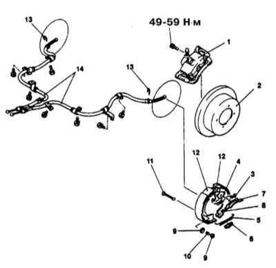 11.23 Снятие и установка фрикционных башмаков стояночного тормоза (модели   с дисковыми тормозными механизмами задних колес)
