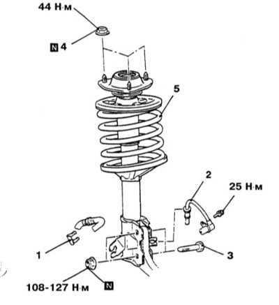 12.2 Снятие и установка стоек и винтовых пружин передней подвески