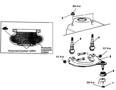 12.5 Снятие и установка верхних рычагов передней подвески (модели Galant   1994 - 1998 г.г. вып.)