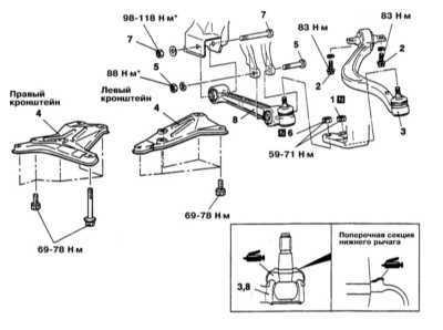12.7 Снятие и установка нижних рычагов передней подвески