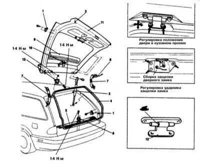 13.27 Снятие, установка и регулировка положения двери задка (модели Хэтчбэк и Универсал)