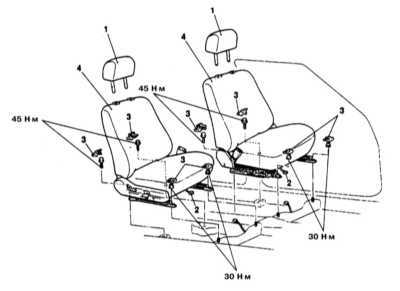 13.25 Снятие и установка сидений