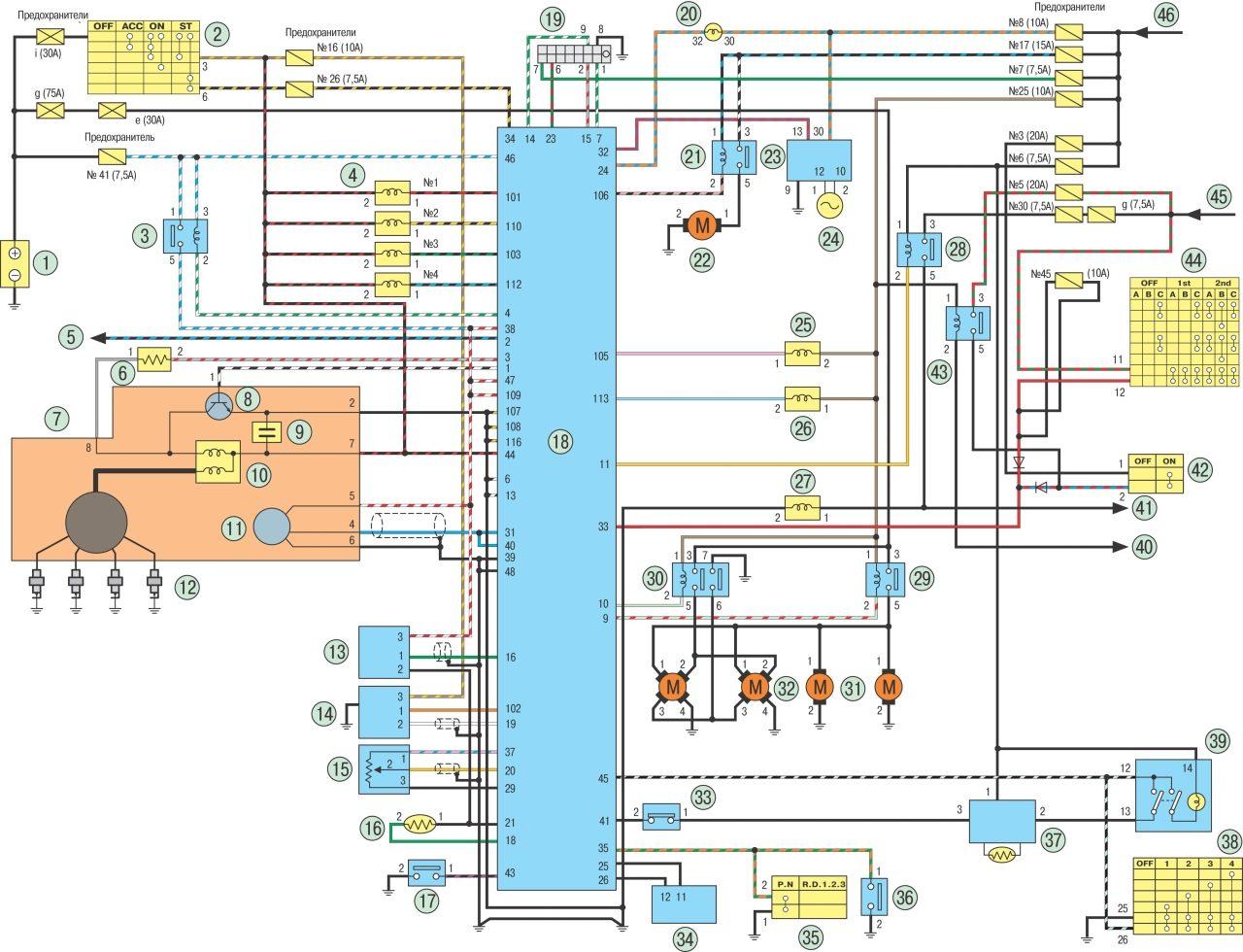 схема подключения электромеханический корректор фар иж