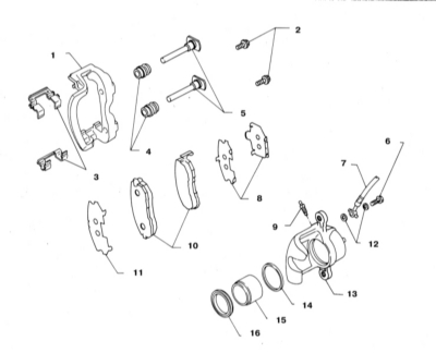 11.4 Снятие и установка суппортов дисковых тормозных механизмов