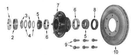 12.1.1  Обслуживание ступиц передних колес и приводных валов