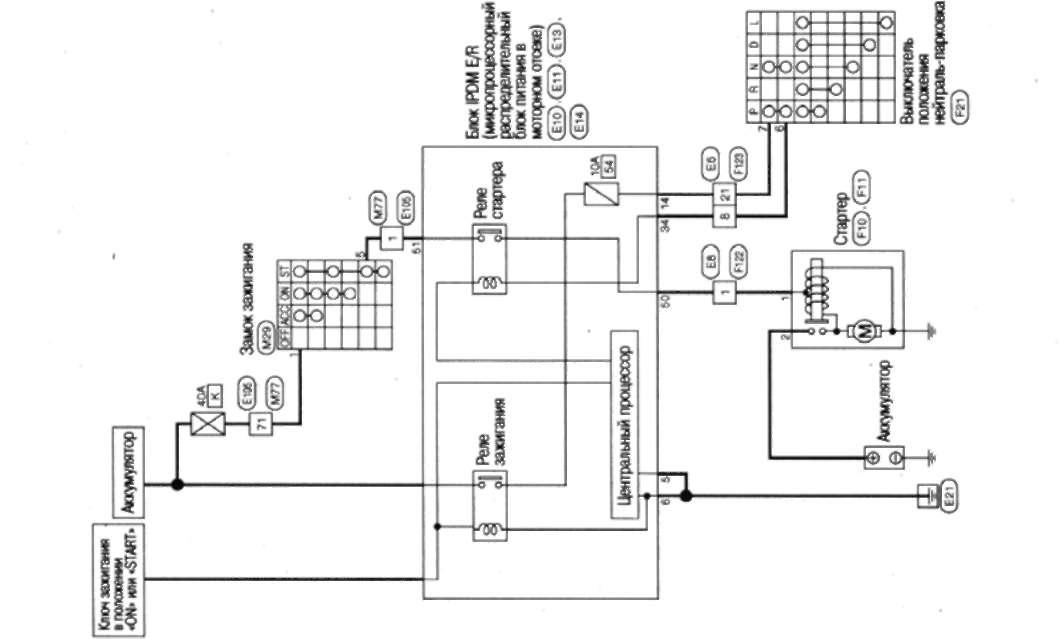 18.4 схема электрических соединений - система запуска (модели с вариатором)