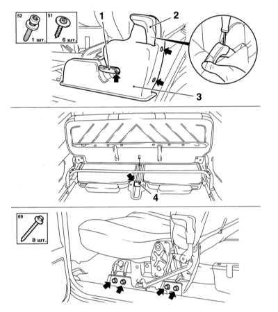 13.43 Снятие и установка задних сидений Opel Astra