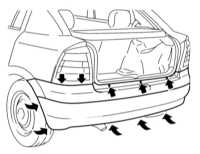 13.9 Снятие и установка бамперов Opel Astra